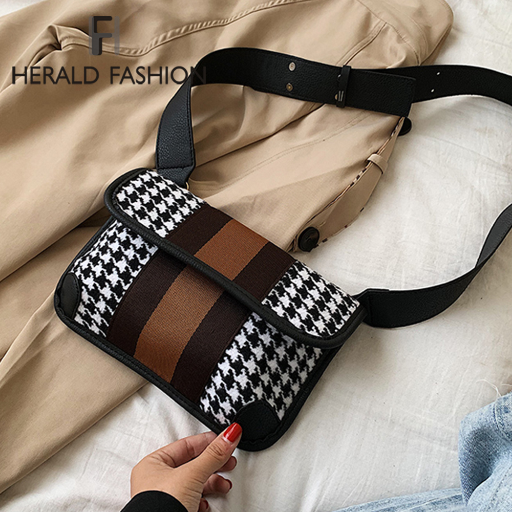 Herald Fashion Plaid Waist Bag Women Fanny Pack Belt Bag Brand Waist Pocket Handbag Lady Check Plaid Bags 2019 New High Quality