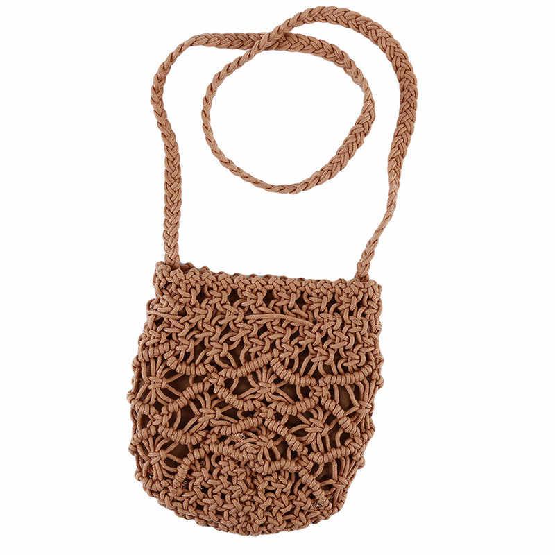 HPopular Woven Aushöhlen Strand Tasche Frauen Häkeln Fransen Stroh Taschen Handgemachte Tag Kupplungen Stricken Weben Boho Sommer Tasche