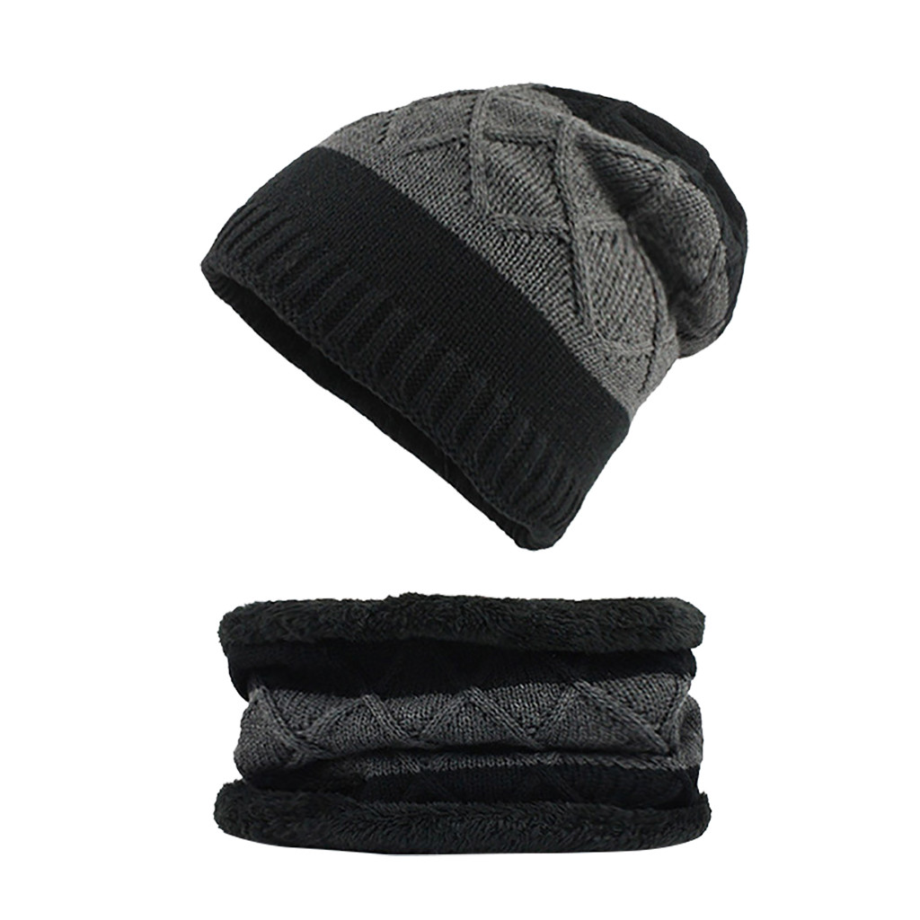 Winter Beanies Hats Scarf For Mens Soft Warm Breathable Wool Knitted Winter Hat Letter Double Layers Cap Warm Scarf Hats #Z4