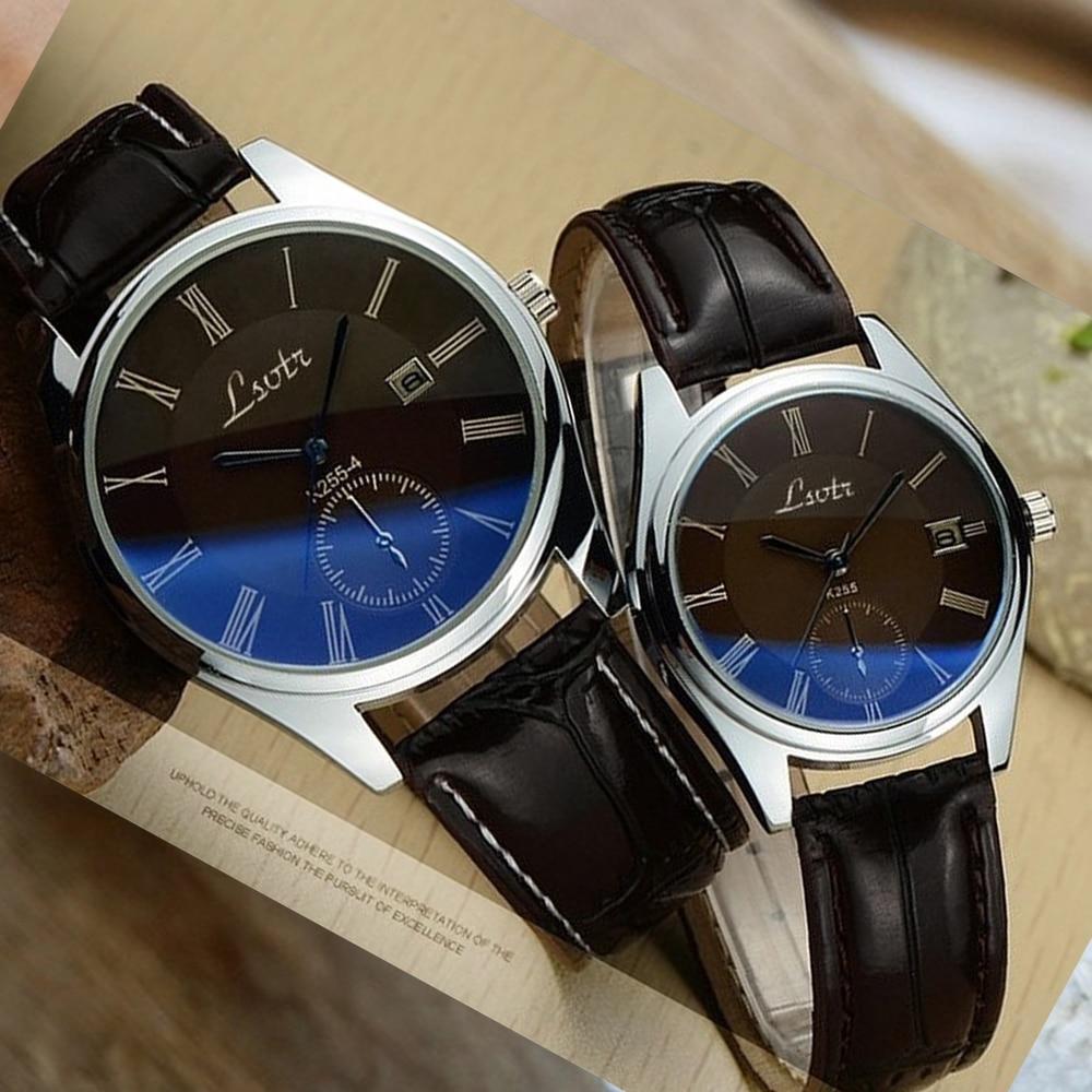 LSVTR Couple Watch Lover Watches Quartz Dial Clock PU Leather WristWatch Relojes Watch Women Men Fashion Luxury Relogio Feminino