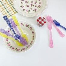 Cuillère Dessert et fourchette à carreaux Floral, INS cuillère à mélanger, Vintage vaisselle en plastique thé froid café cuillère à mélanger 2020