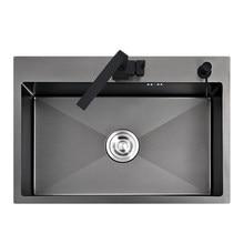 Preto pias de cozinha 550x450mm de aço inoxidável único intestino acima do contador ou udermount bacia de lavagem vegetal rts900