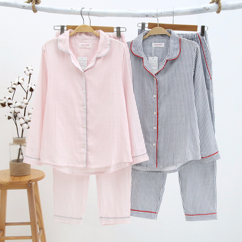 Winter Cotton Pajamas Women Double Gauze Sleepwear Stripe Night Suit for Women Thin Homewear Pijama Loungewear Pyjamas Women