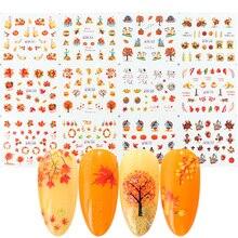 12 디자인 가을 잎 네일 스티커 물 전송 네일 아트 데칼 Autumb 노란색 메이플 리프 터키 손톱 장식 JIBN361 372