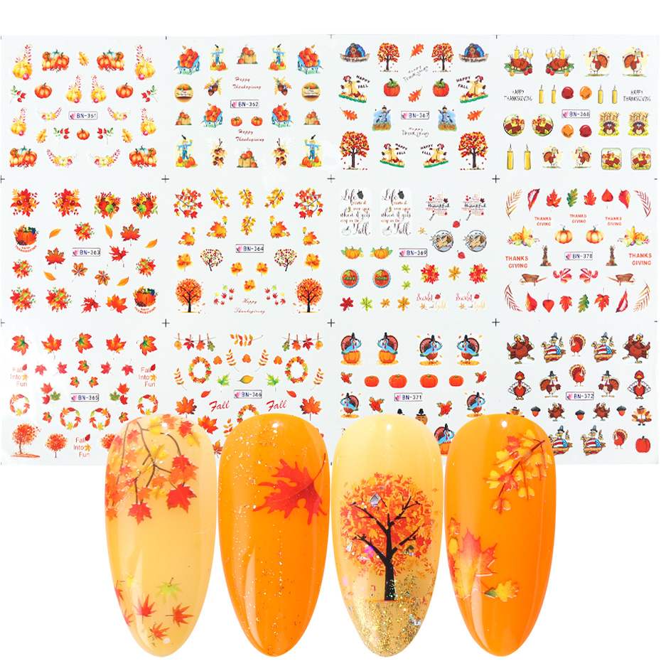 12 Designs Fall Leaves Nail Sticker Water Transfer Nail Art Decal Autumb Yellow Maple Leaf Turkey Nails Decorations JIBN361 372-in Stickers & Decals from Beauty & Health