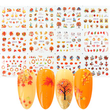 12 conceptions automne feuilles autocollant pour ongles transfert deau Nail Art décalcomanie automne jaune feuille dérable turquie ongles décorations JIBN361 372