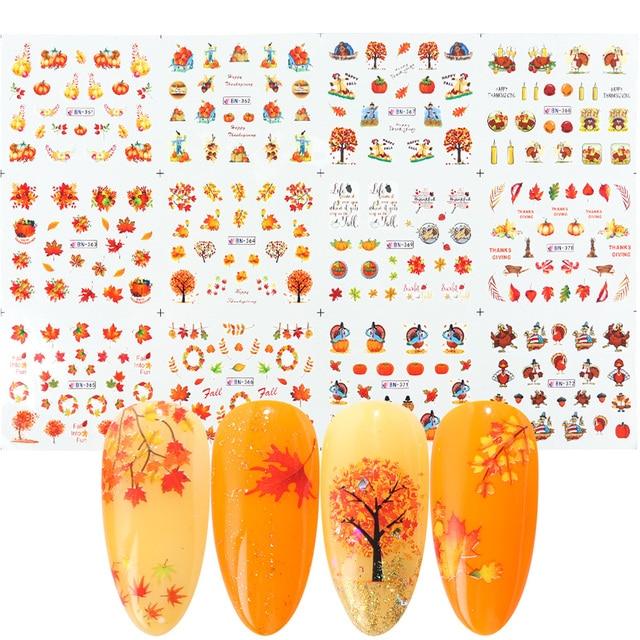 12 wzorów liście jesienne naklejka do paznokci woda Transfer paznokci artystyczne naklejki Autumb żółty liść klonu turcja paznokcie ozdoby JIBN361 372