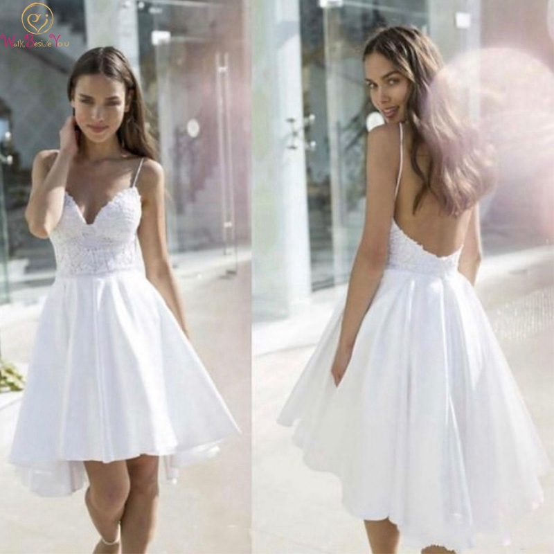 Simple Ivory Boho Short Front Long Back A-Line Wedding Dresses 2019 Spaghetti Straps Satin Bridal Gowns Backless Robe De Mariee