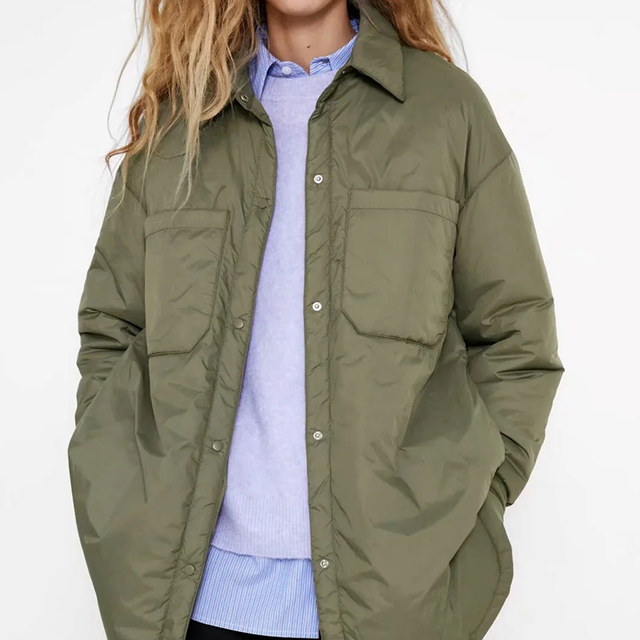 Za Women's Jackets Oversize Parkas Thin Coats Khaki Shirt Coat Long Femme BF Long Sleeves Big Pockets Outerwear Mujer Large Coat 3