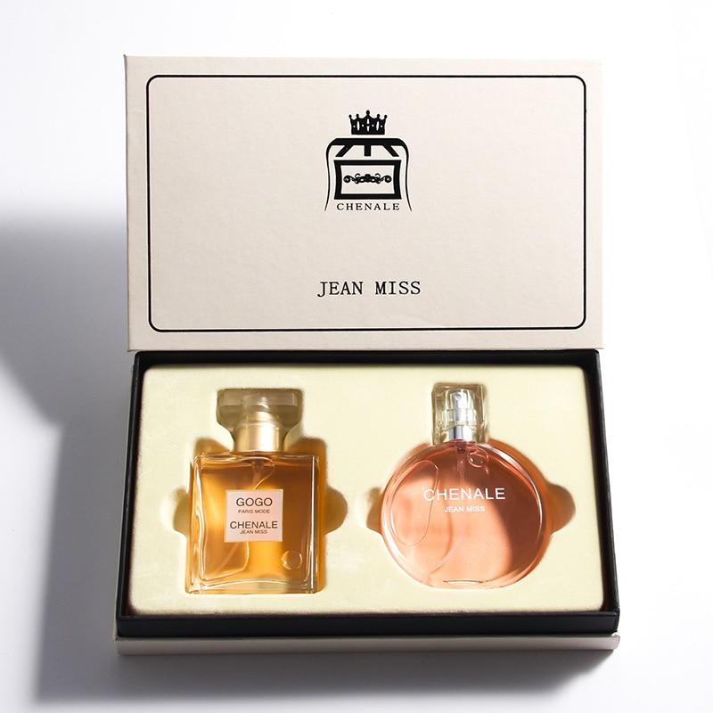 50ml*2 Bottle Glass Flower Fragrances Perfume Feminino 2pcs Set Original Parfum Women Lady Miss Liquid Antiperspirant