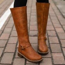 Сапоги до бедра; цвет коричневый; женские винтажные кожаные сапоги до колена на квадратном каблуке и молнии с пряжкой; теплые сапоги с круглым носком в британском стиле