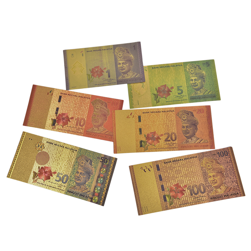 6Pcs Plastic copy 24k Gold Foil Bank Note Malaysia Fake Money as Gifts Malaysia 1 5 10 20 50 100 Ringgit Banknote
