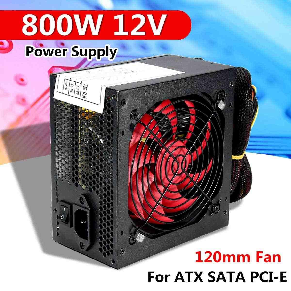 800W wielokanałowa moc PC zasilanie z 12cm wentylator zasilacz do komputera dla Intel AMD PC 12V ATX SLI PCI-E gry komputerowe