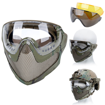 airsoft paintball mask safety protective anti fog goggle full face mask with black yellow clean lens tactical shooting equipment AIRSOFTA Airsoft Paintball Protective Mask Anti-Fog Goggle Full Face Mask With Black/Yellow/Lens Tactical Shooting Accessories