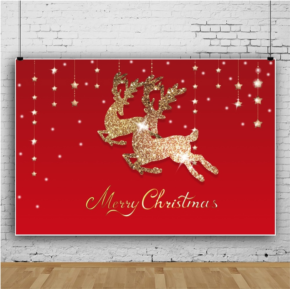Laeacco Merry Christmas Golden Elk Red Photography Backgrounds Vinyl Baby Party Props Photographic Backdrops For Photo Studio in Background from Consumer Electronics