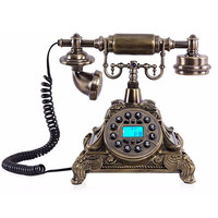 European Vintage LCD Display Telephone Swivel Plate Rotary Dial Telephone Antique Landline Phone For Office Hotel Networking Too