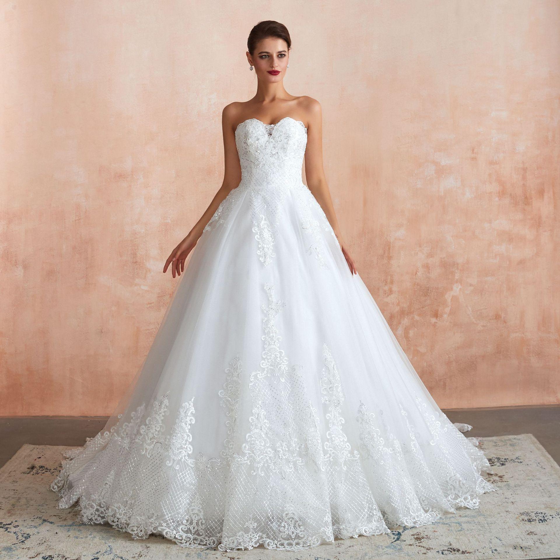 Wedding Dresses Vestidos De Novia Sweetheart Court Train Lace Applique Corset Wedding Dress Gowns Robe De Mariage