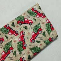 Buon Natale Rosso Del Fumetto di Guida Auto Stampato Tessuto di Cotone 50x105cm Floreale Tessuto Patchwork Tessile Del Panno Del Bambino Del Vestito partito