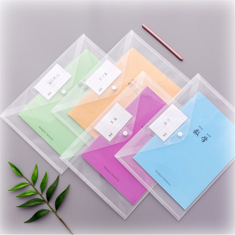 Plastic Transparent File Bag Snap A4 Folder Holder Document Bag Organizer Creative Minimalist Stationery Student Office Supplies