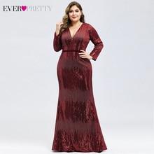 Роскошное вечерное платье большого размера Ever Pretty с длинным рукавом, глубокий Русалка, v-образный вырез, блестками, сексуальные вечерние платья осень-зима, торжественные Jurk
