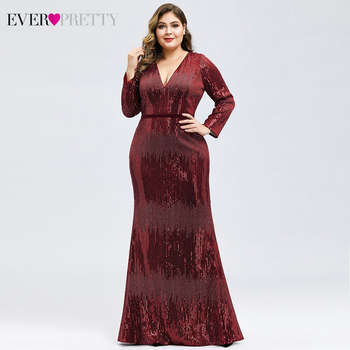 Luxury Prom Dresses Plus Size Ever Pretty Full Sleeve Deep Mermaid V-Neck Sequined Sexy Autumn Winter Party Gowns Gala Jurk 2020 1