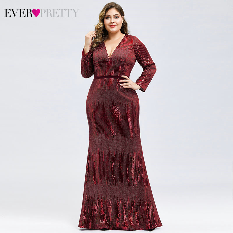 Luxury   Prom     Dresses   Plus Size Ever Pretty Full Sleeve Deep Mermaid V-Neck Sequined Sexy Autumn Winter Party Gowns Gala Jurk 2019
