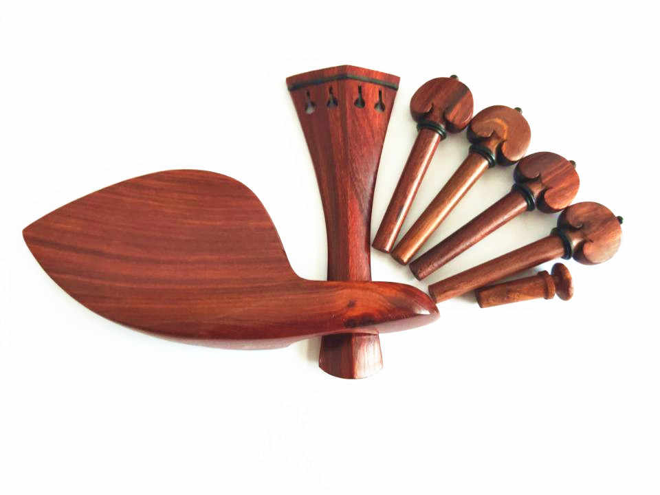 Bnineteenteam 1Set Wood 4//4 Violin Parts Set Include Chin Rest,Tuning Pegs,Bridge Pins and Tailpiece
