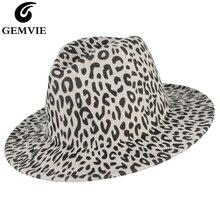 GEMVIE 2019 Wide Brim Leopard Wool Hat Fedora Felt For Women New Fashion Warm Autumn Winter Panama Jazz Cap Accessories