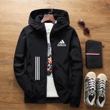 Spring and summer new men's jacket street windbreaker hoodie zipper thin jacket men's casual jacket sportswear 7XL