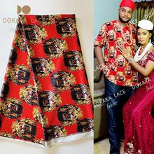 Traditional Wedding Chiffon Fabrics Isiagu Printed Silk Lace African High Quality Red Color Printing Silk George LacesMaterial