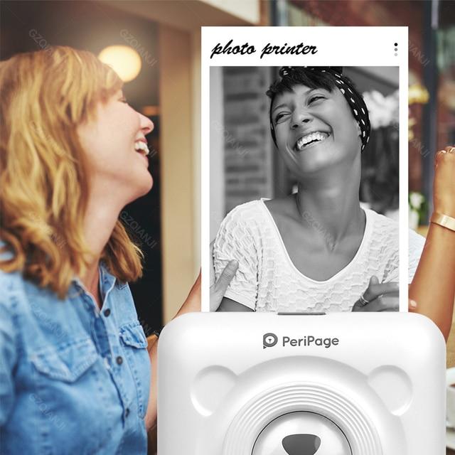 PeriPage Mini Portable Thermal Printer Paper Photo Pocket Thermal Printer 58 mm Printing Wireless Bluetooth Android IOS Printers 6