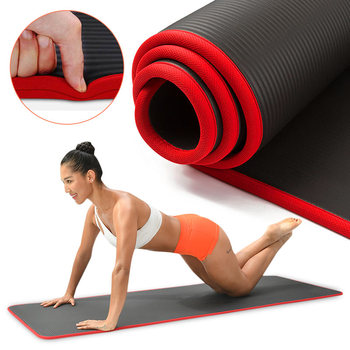 10MM Extra Thick Yoga Mat  NRB Non-slip 183cmX61cm Gymnastic Pilates Tear Resistant Fitness Exercise Tasteless With Bandages - discount item  88% OFF Fitness & Body Building