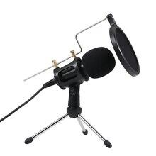 Professionelle Kondensator Mikrofon MikrofonStudio Aufnahme Mic Mikrofone mit Mini MIC Stand für iPhone Laptop PC Tablet