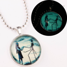 Fashion Halloween Gift Jewelry Personality Exaggeration Round Luminous Pendant Necklace Glowing for Couple Accesories