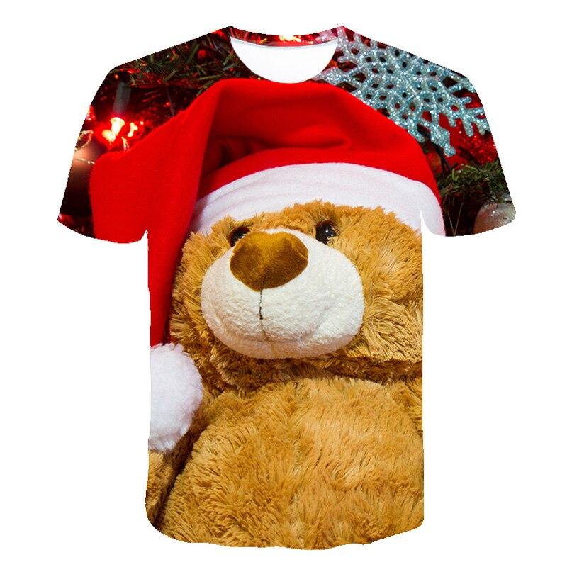 Christmas Children Clothing Funny Cute Animal T Shirts Christmas Bear Print T Shirt Kids Christmas Tshirt Party Happy Clothing