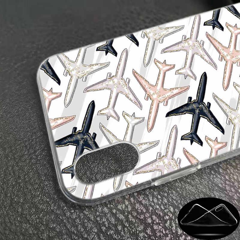 Molle Del Silicone Cassa Del Telefono aeroplano volare da viaggio in Cielo per il Apple iPhone 11 Pro XS Max X XR 6 6S 7 8 Più di 5 5S SE Copertura