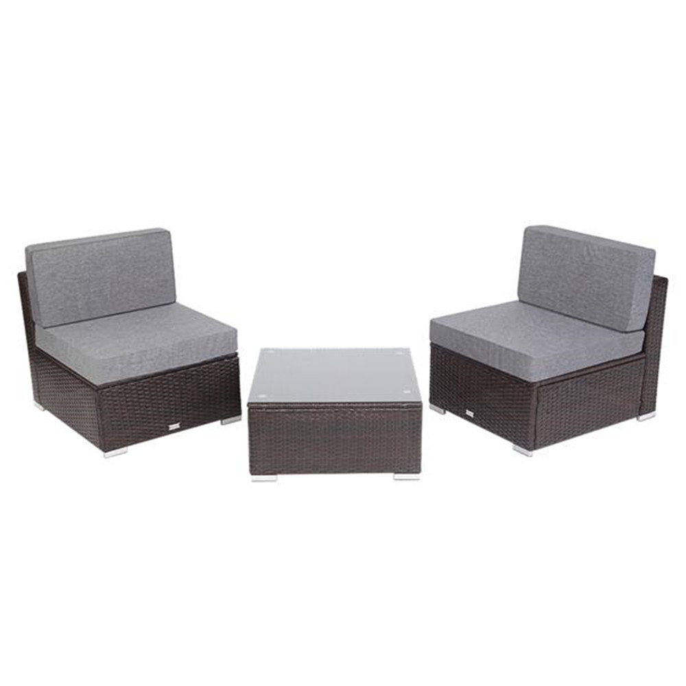3 Pieces Patio PE Wicker Rattan Sofa Set