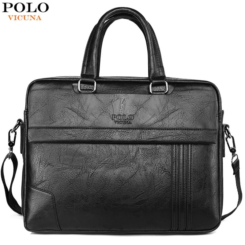 VICUNA POLO Large Capacity Leather Mens Briefcase Bag Classic Business Office Bag For Men Shoulder Bag Mens Handbag New Arrival