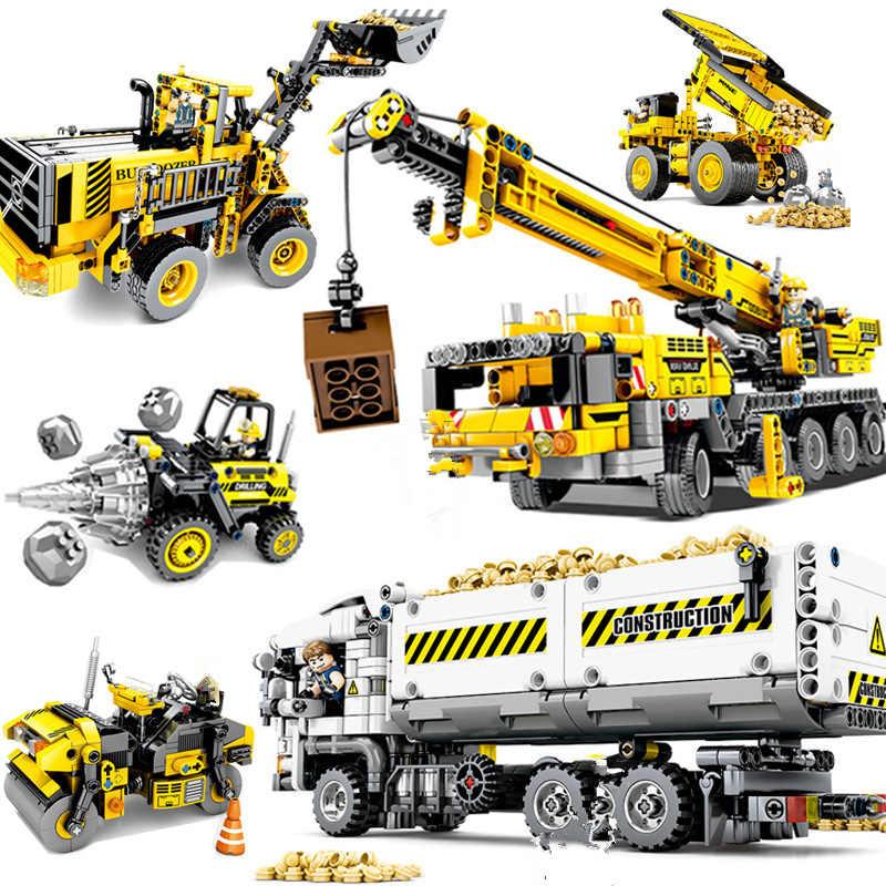 Kota Teknik Teknik Mesin Mobil Kompatibel Legoedlys Teknik Blok Bangunan Mencerahkan Diy Batu Bata Mainan untuk Anak-anak Hadiah