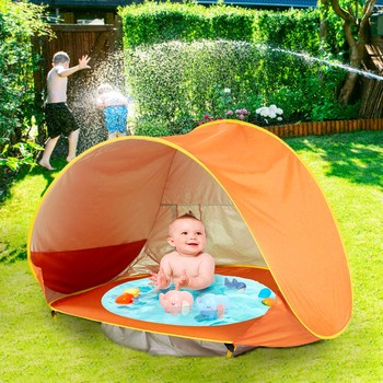 Baby Beach Tent Kids Outdoor Camping Easy Fold Up&Waterproof Pop Up Sun Awning Tent UV-protecting Sunshelter with Pool w2