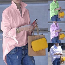 Large size fashion loose women blouse 2020 spring and summer blouses shirt solid