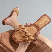 2021 de moda Zapatillas planas de las mujeres tejer diapositivas sandalias señoras mulas de playa al aire libre zapatos para mujer Zapatillas de casa Mujer Flip Flops
