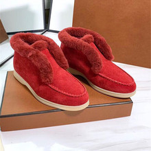 Loafer-Shoes Designer Women Round-Toe Female Casual Wool High-Top Winter Fur Warm