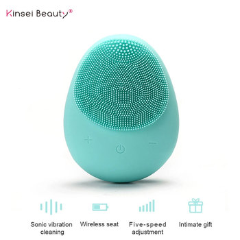 Electric Silicone Facial Cleansing Brush Sonic Vibration Face Washing Massage Wireless