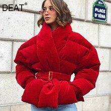 DEAT Cotton-padded wine red color waist belts adjusted jacket