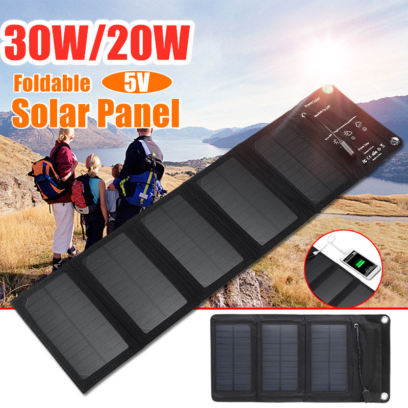 30W 20W 5V Foldable USB Solar Panel Portable Folding Solar Cell Waterproof Solar Panel Charger Mobile Power Battery Charger