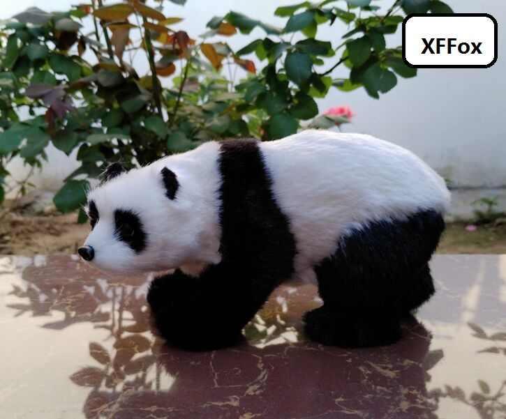 小さなかわいい実生活パンダモデルプラスチック & 毛皮パンダ人形家の装飾のギフト約 16 × 8 × 9 センチメートル xf2186