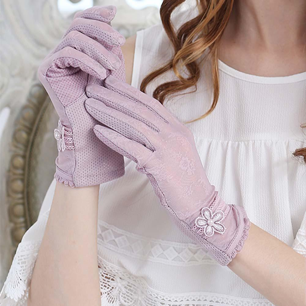 Sun Protection Gloves Female Summer UV Protection Thin Section Driving Lace Ice Silk Full-finger Gloves