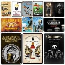 Guinness placa de Metal cartel de hojalata vintage pin up Shabby placa Club clásico retro pintura casa Pub restaurante arte Poster,