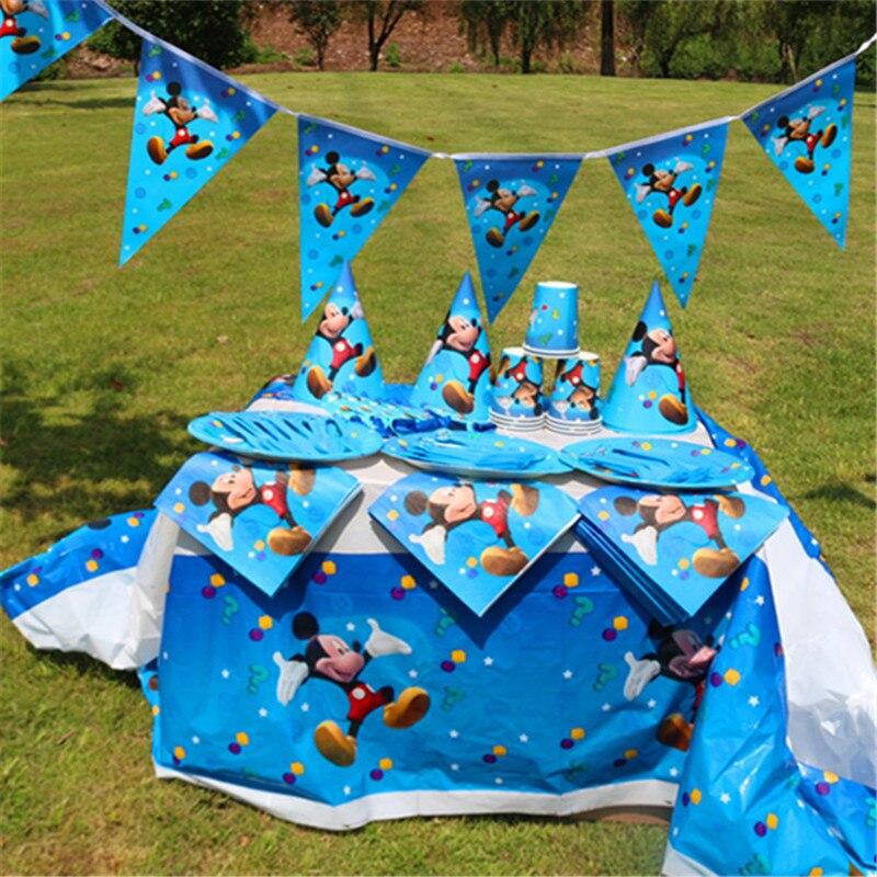 Mickey mouse festa de aniversário decoração garfos colheres facas pratos banner chapéu canudos mickey festa suprimentos decoração conjunto